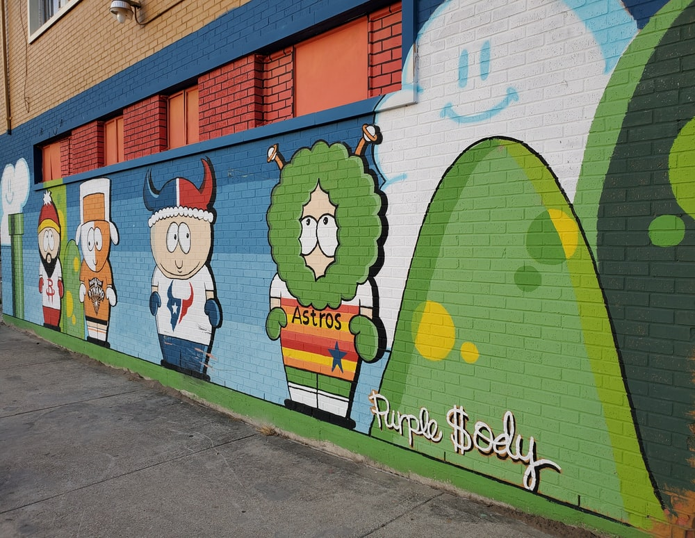 multicolored South Park inspired wall art
