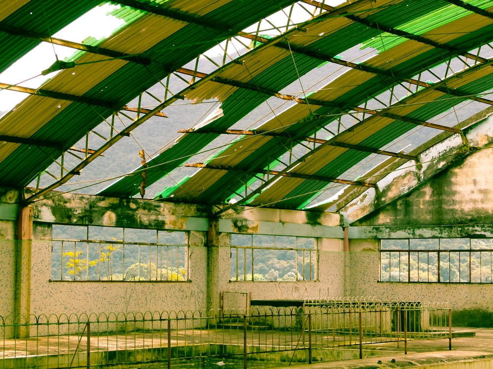 green and white structure interior