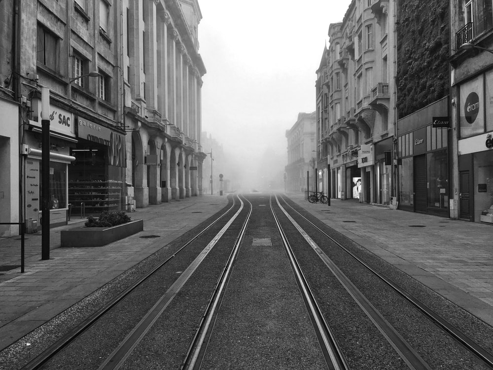 grayscale photo of street