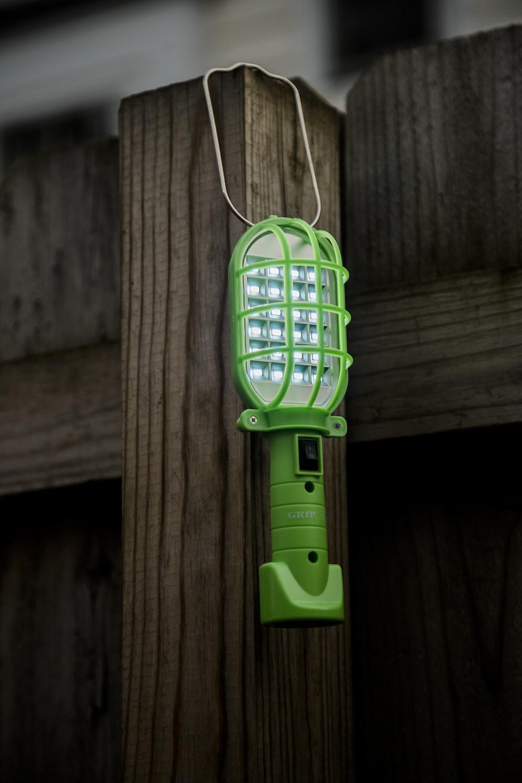 lit green work light