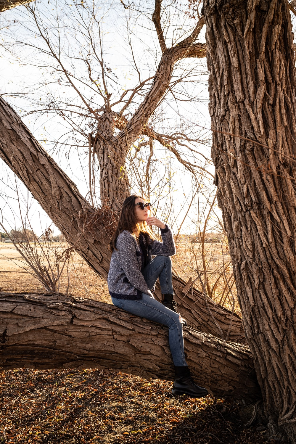 shallow focus photo of woman in gray jacket sitting on tree branch