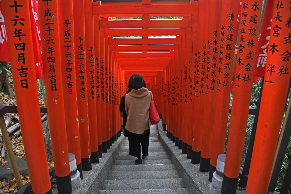 people walking on concrete stairs in Shinto shrine
