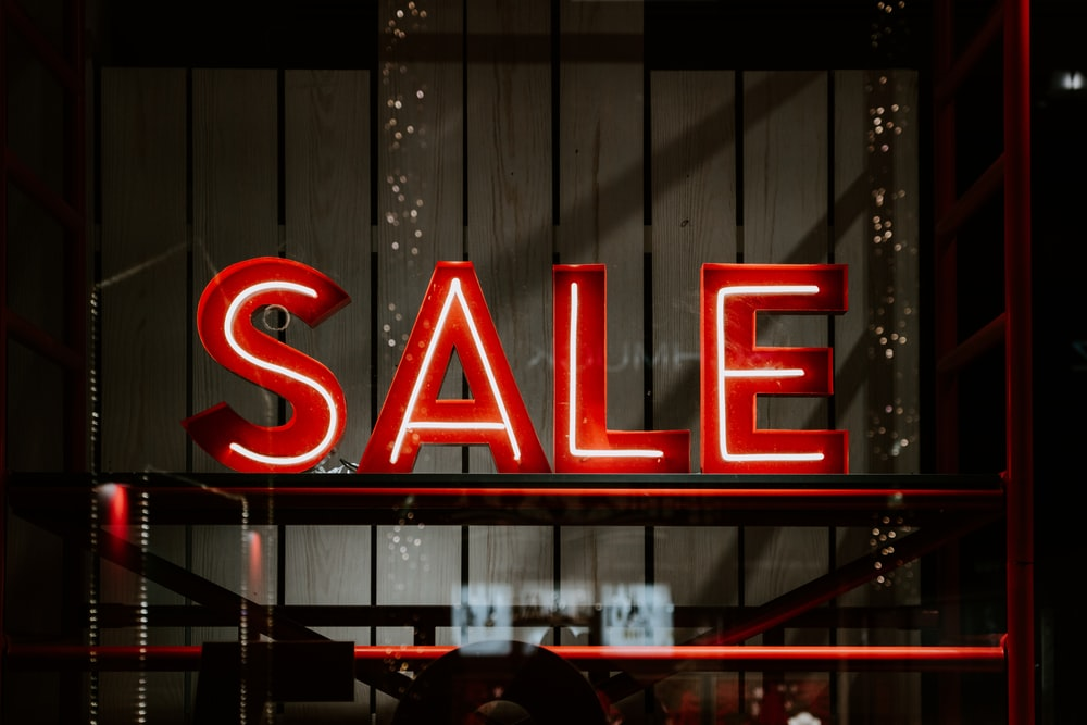 red and white sale LED sign