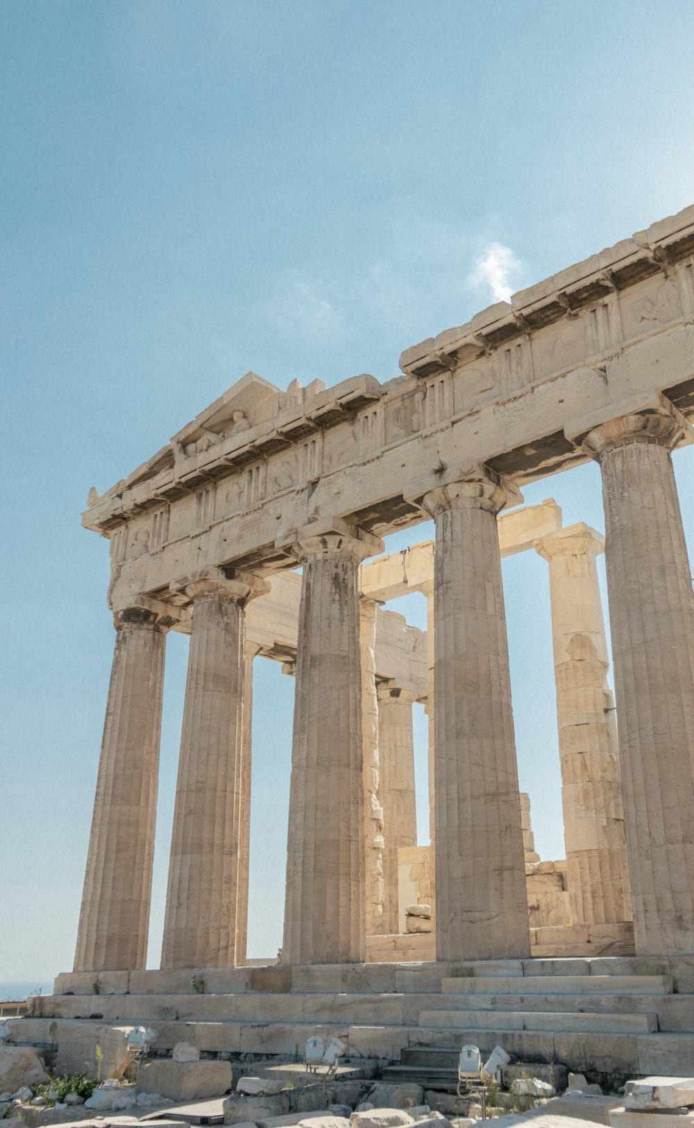 low-angle photography of The Parthenon during daytime