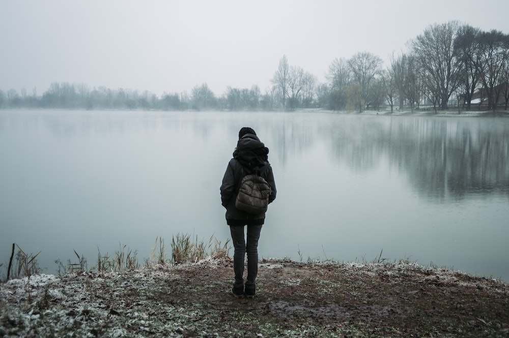 person wearing black hooded jacket standing and facing on body of water near trees in foggy day