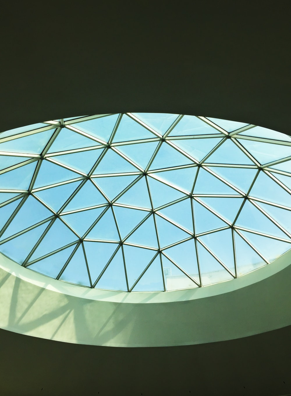 macro photography of ceiling view under blue and white sky