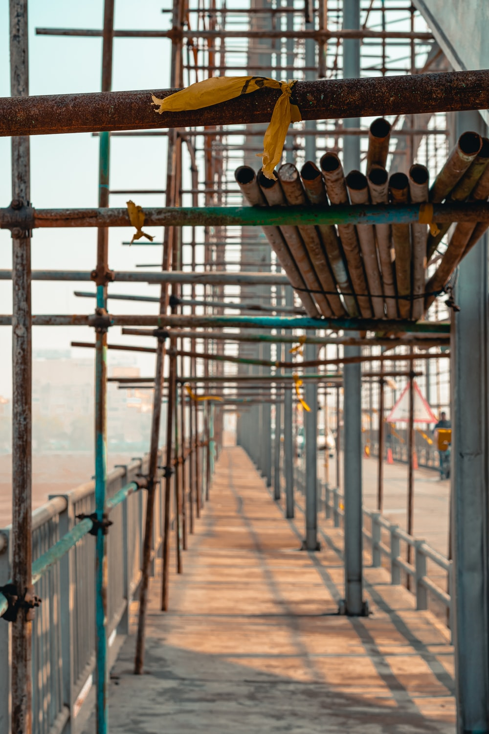 metal pipes on scaffold