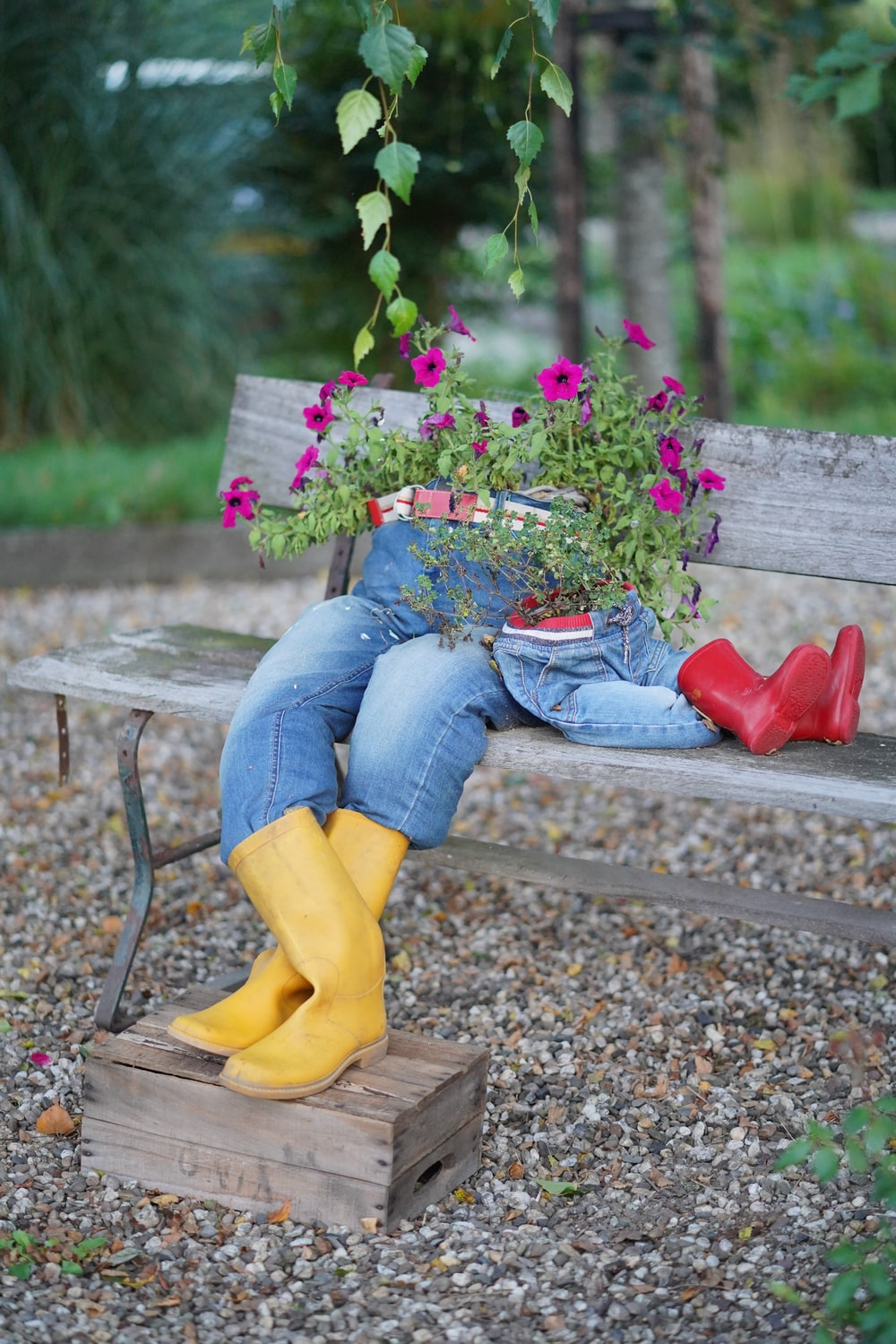 decorative potted plants with boots and jeans sitting on bench