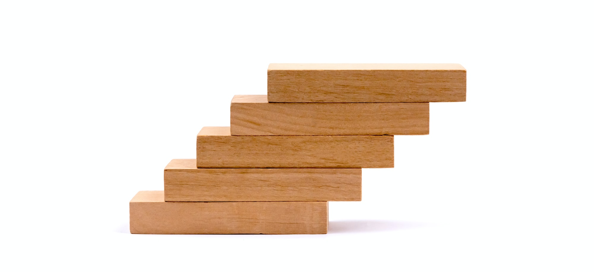 Wood block stacking as step stair, Business concept for growth success process