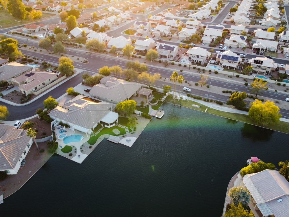 aerial view of resort and houses