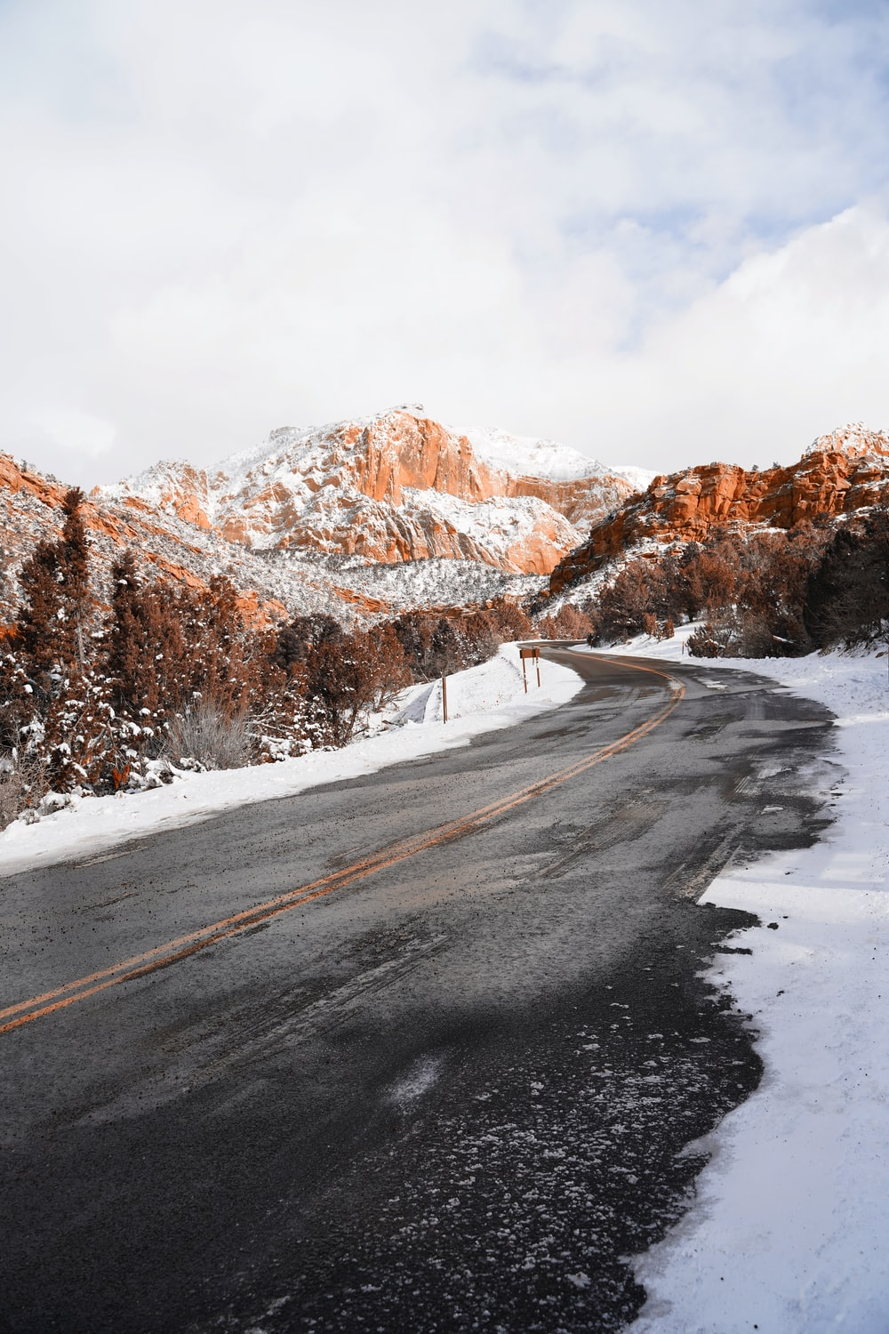 road and mountains during winter