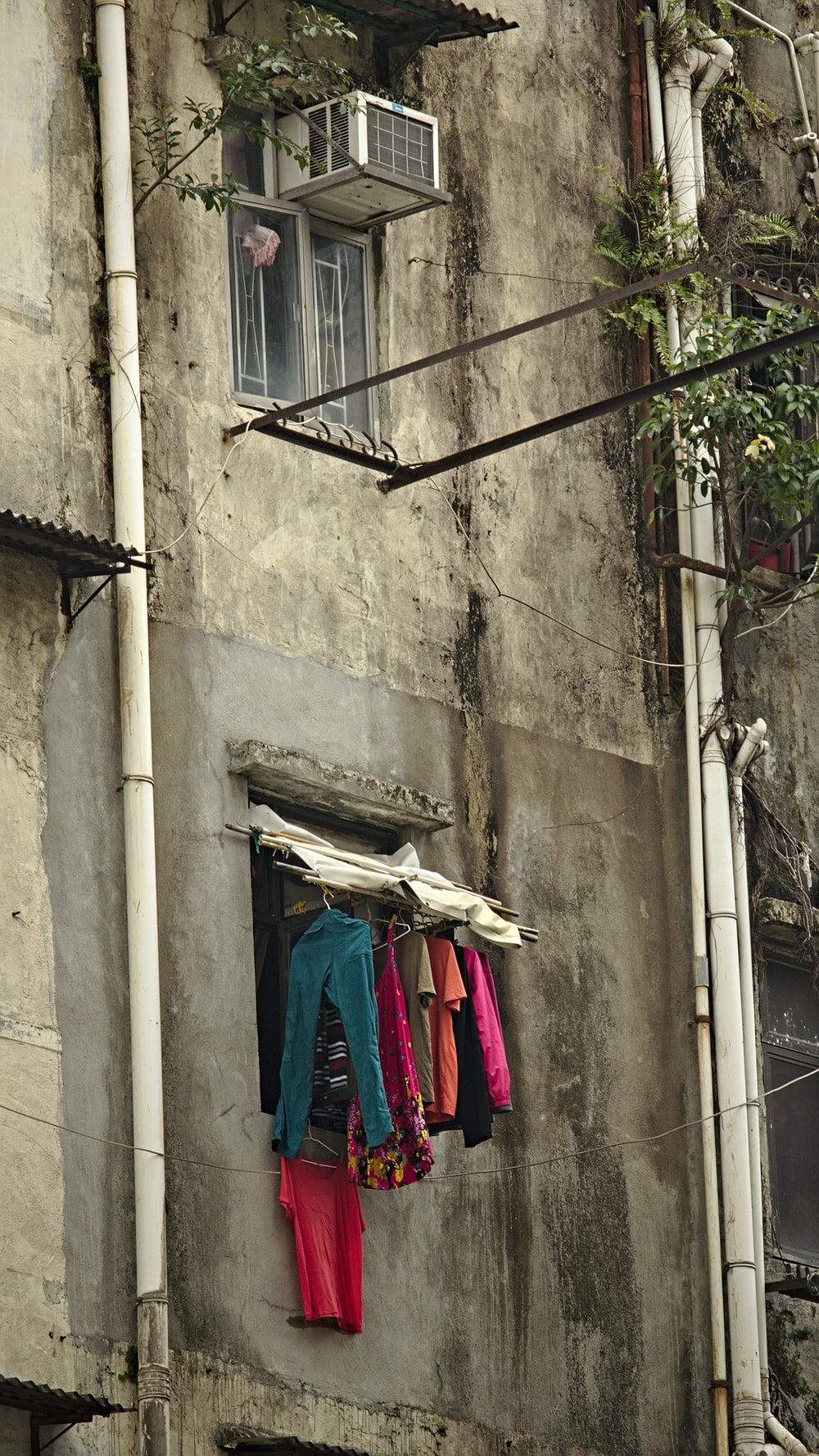 clothes hanging outside a building window