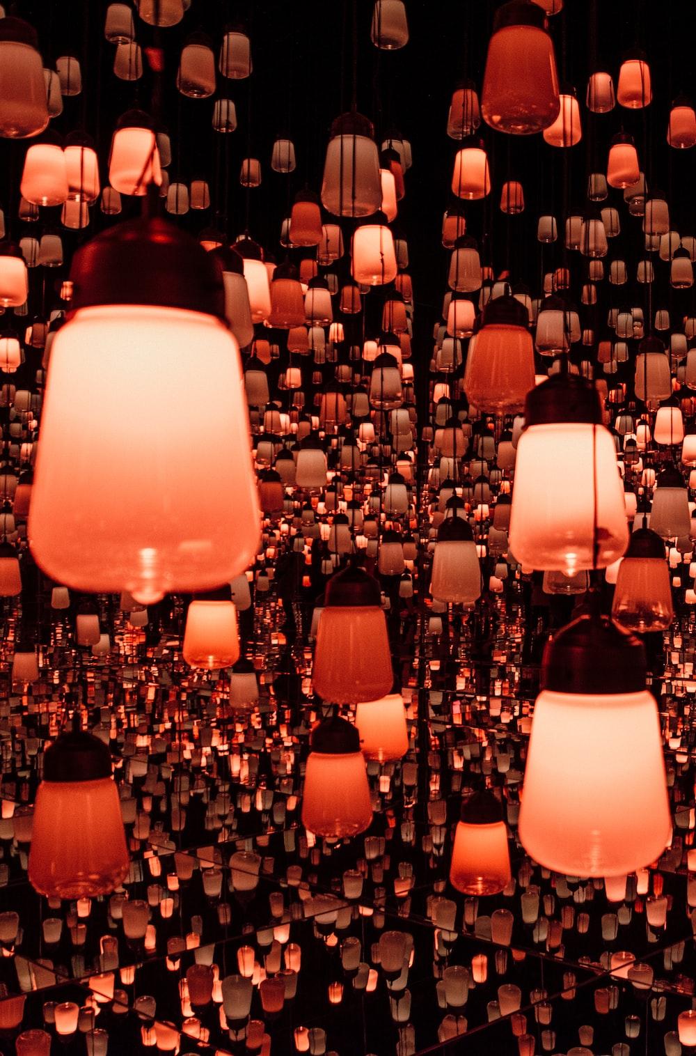 orange lantern lamps