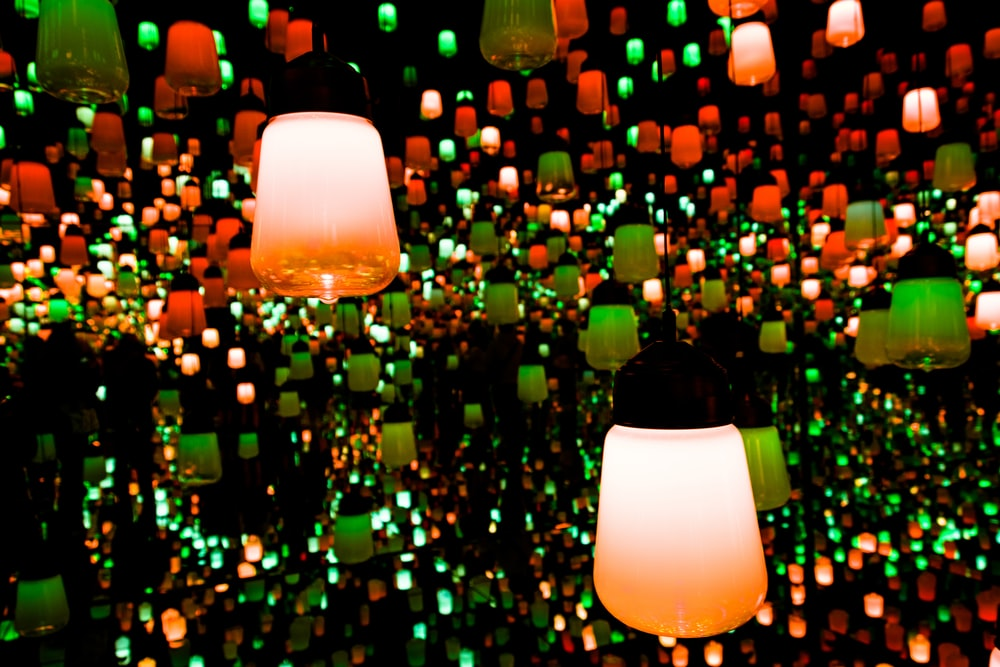 macro photography of lighted pendant lamps