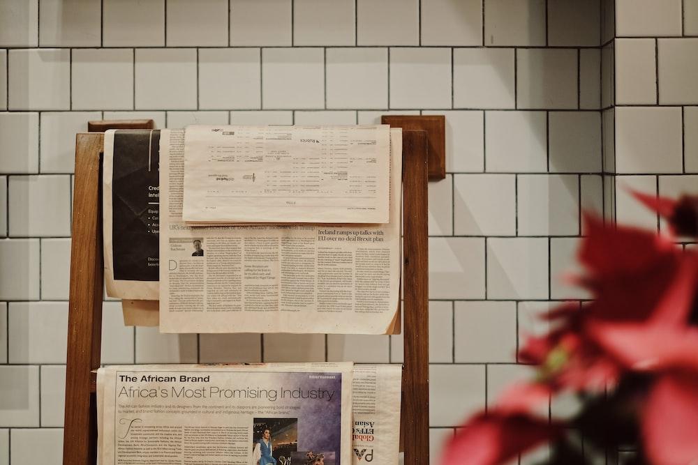 newspapers on rack