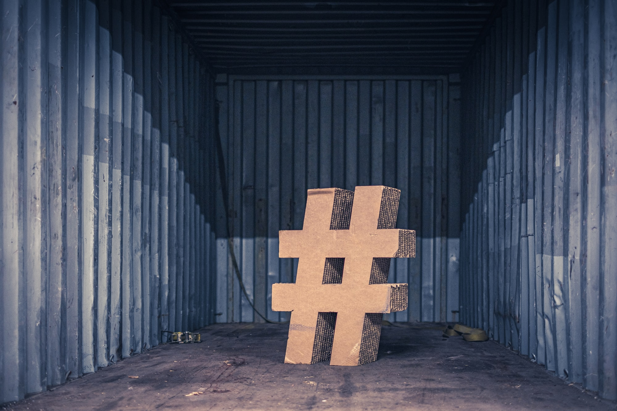 Cardboard #, hashtag in the shipping container
