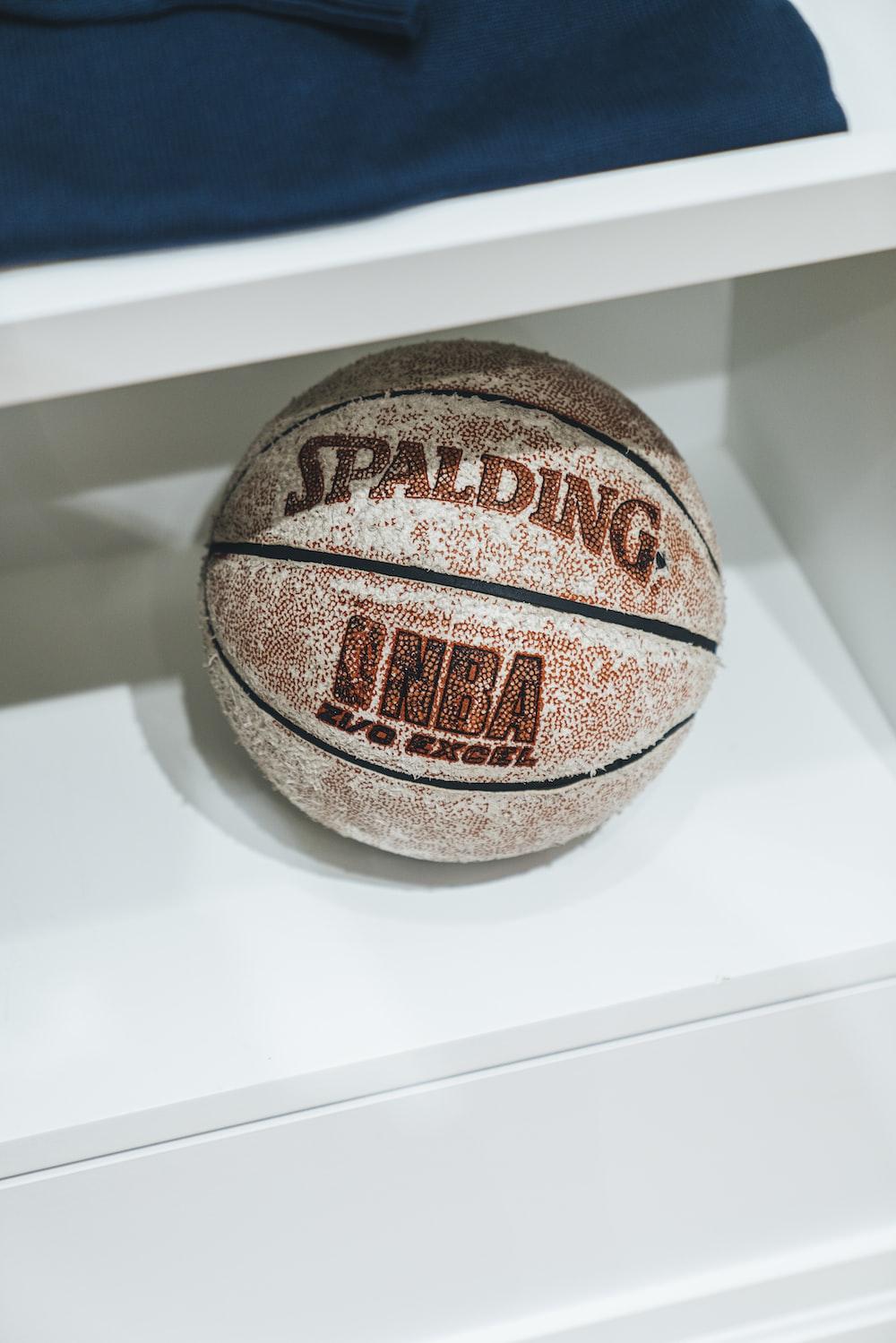 Spalding basketball in shelf