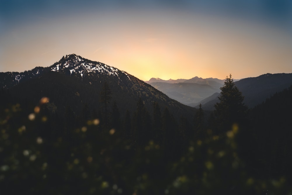 summit view of mountain under yellow sky