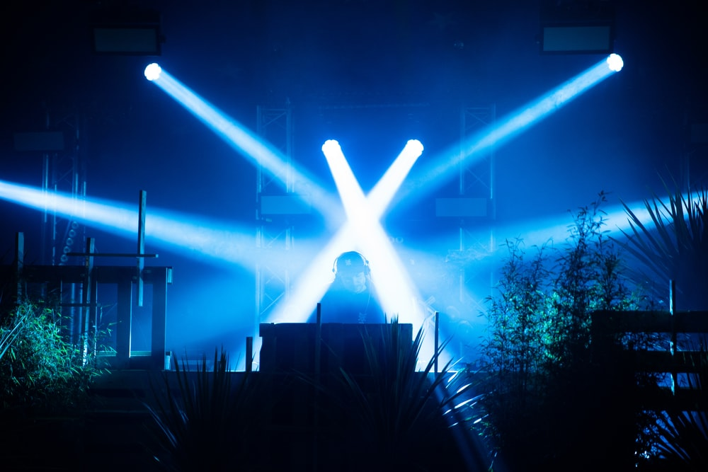lights pointing at man