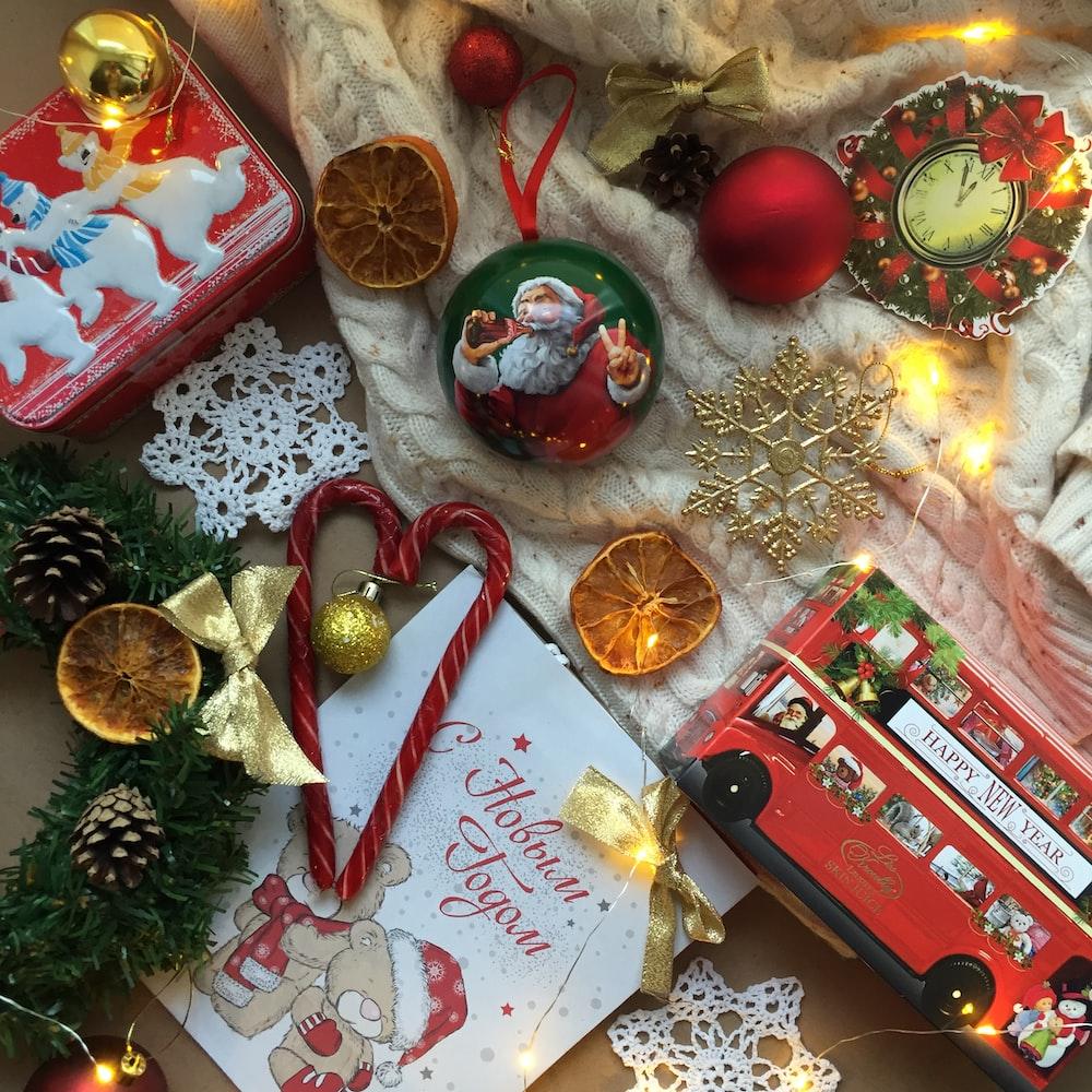 assorted-color Christmas decor lot]
