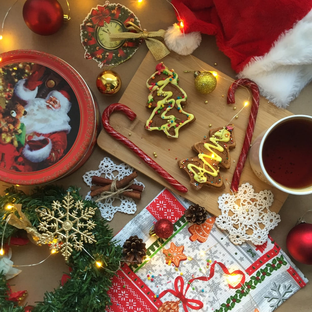 red candycanes on brown wooden chopping board