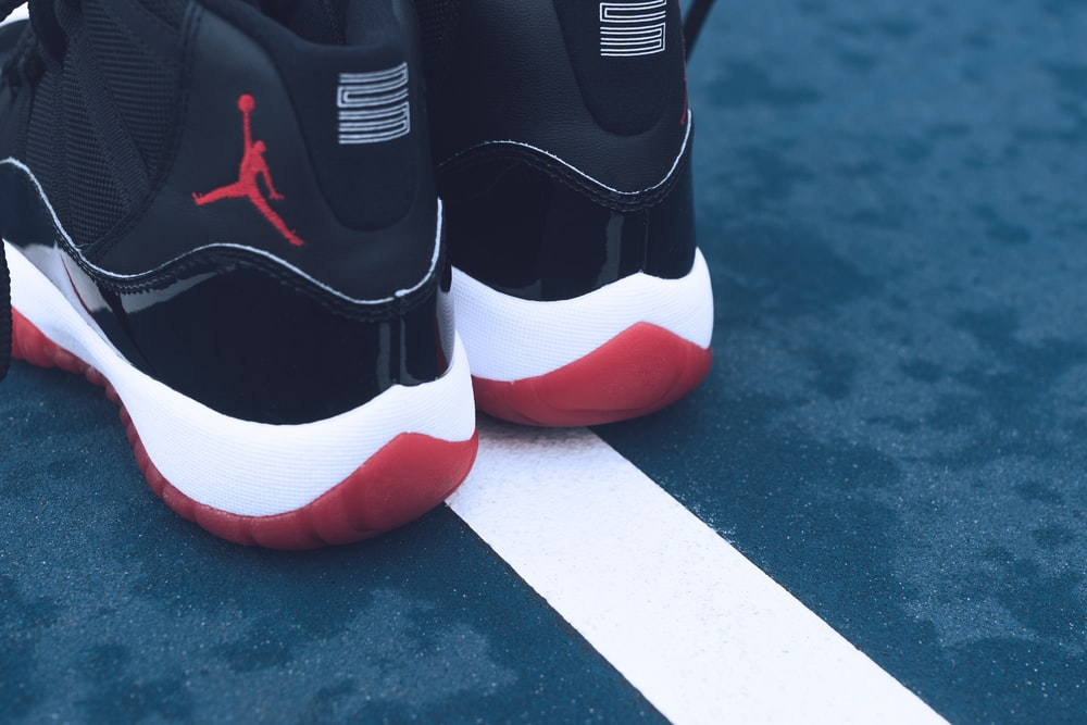 pair or black-red-and-white Air Jordan athletic shoes photo – Free ...