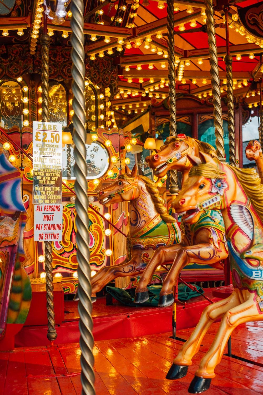 multicolored horse carousel