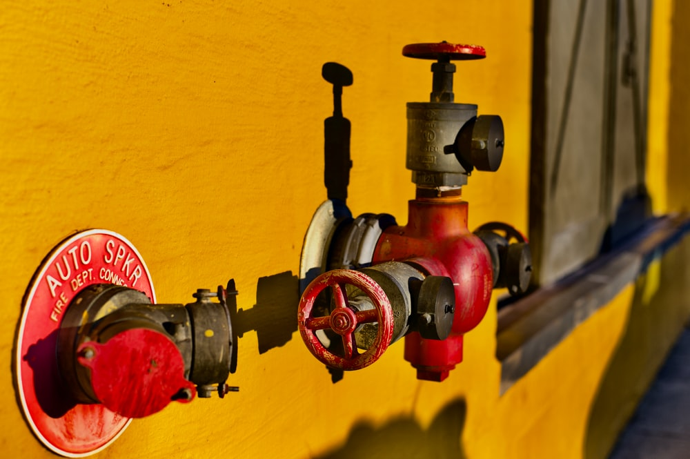 red and gray hydrant gate valve