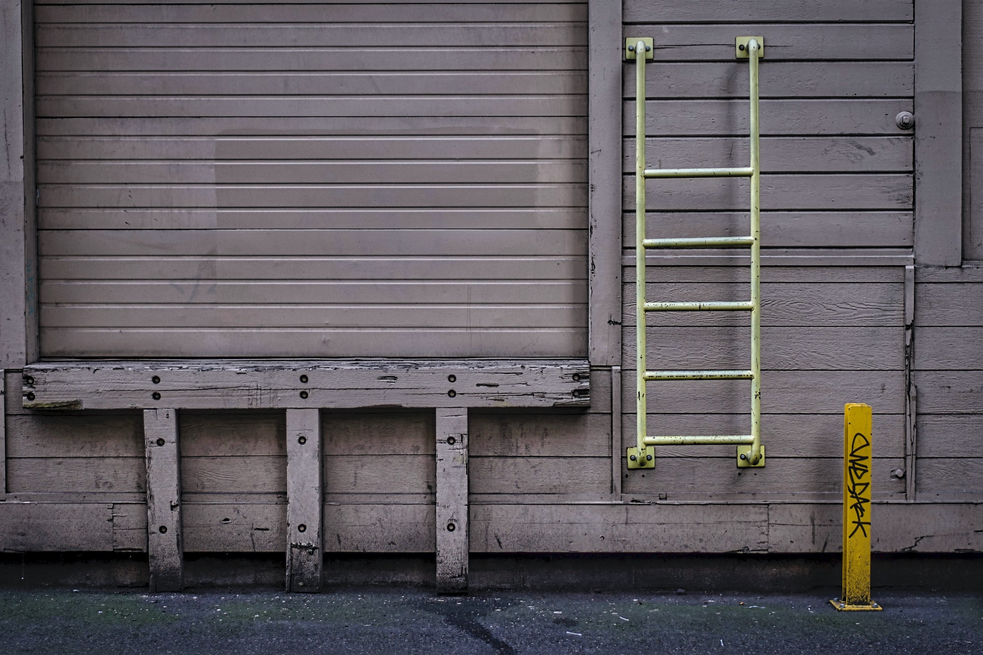 Yellow stairs to loading dock