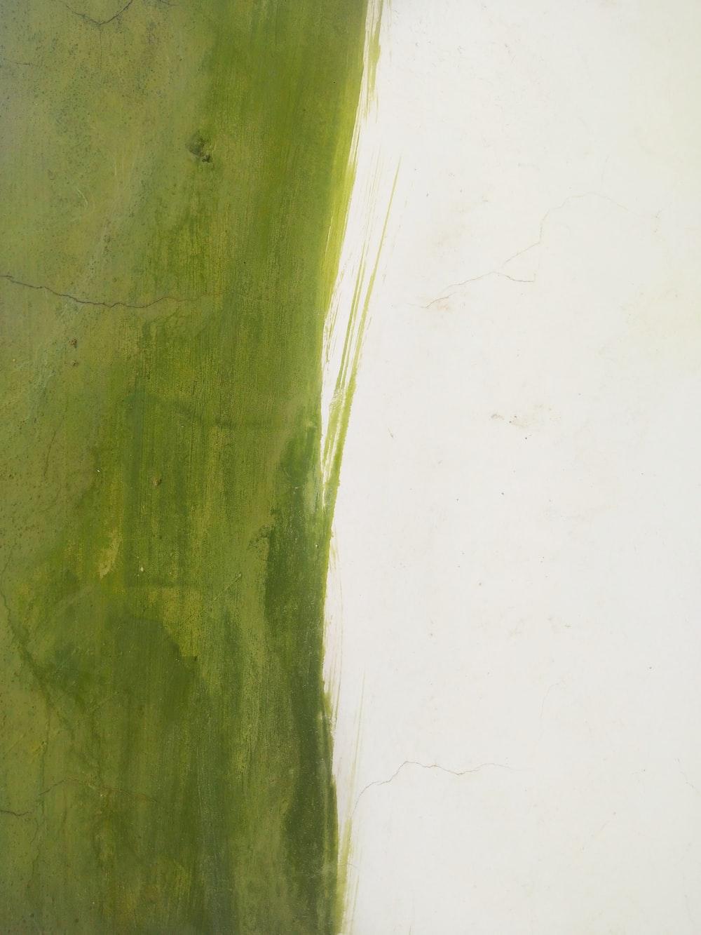green brush stroke on white surface