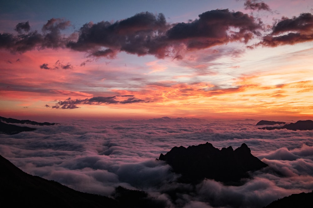 aerial photography of sea of clouds during golden hour