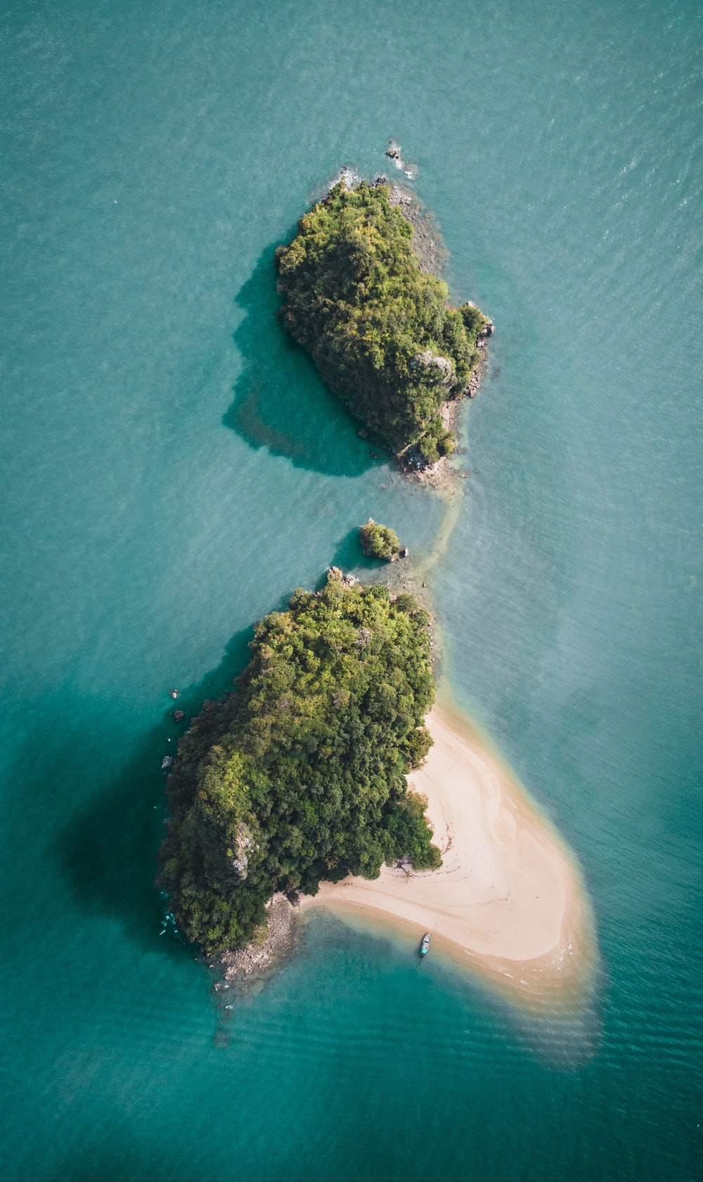 aerial photography of a green island