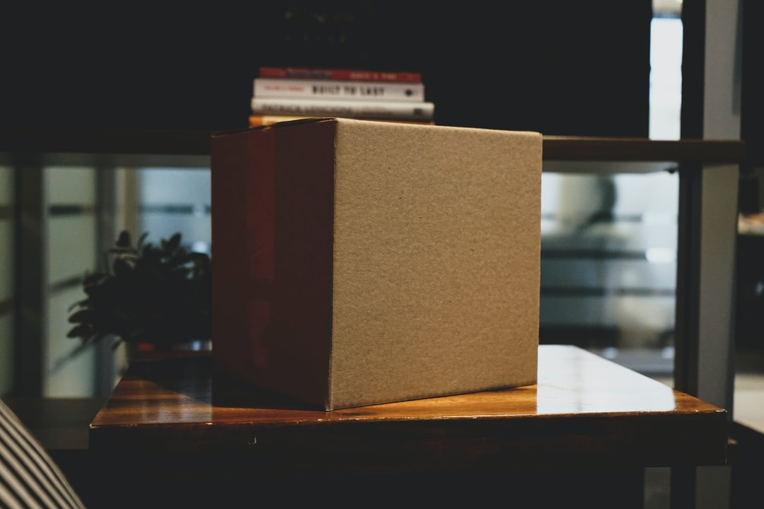 Blank box in office workspace