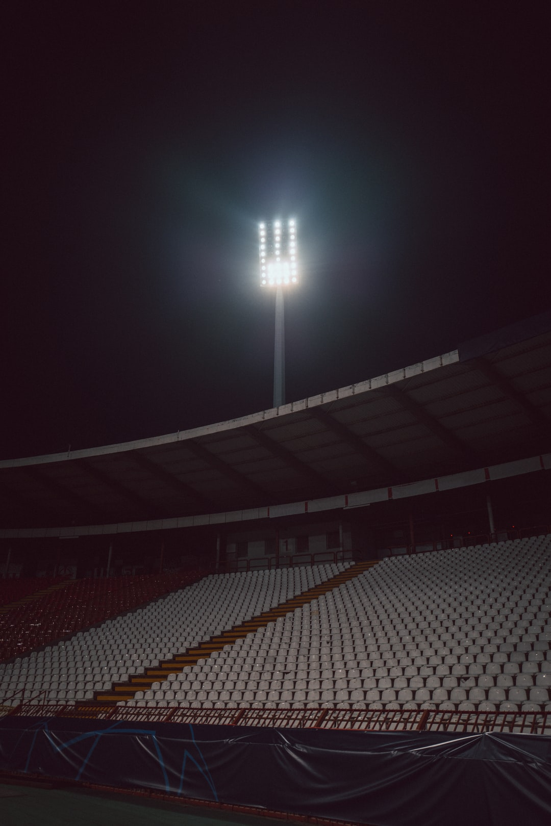 Stadium floodlights at the Rajko Mitić Stadium in Belgrade