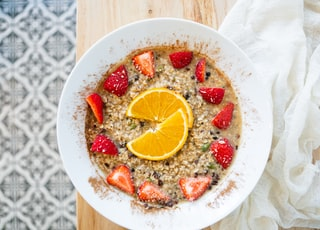 Oatmeal bowl with fresh strawberries