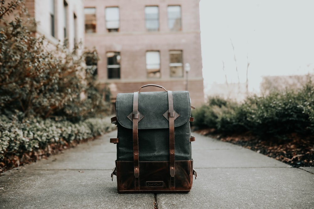 gray and brown backpack