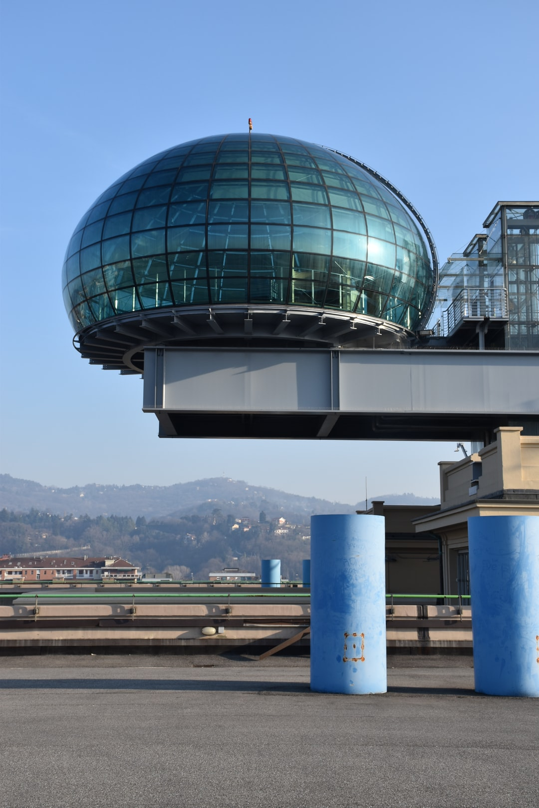 The bolla or bubble on top of the car test track on the roof of the former FIAT car factory in the Lingotto of quarter in Torino, Italy.