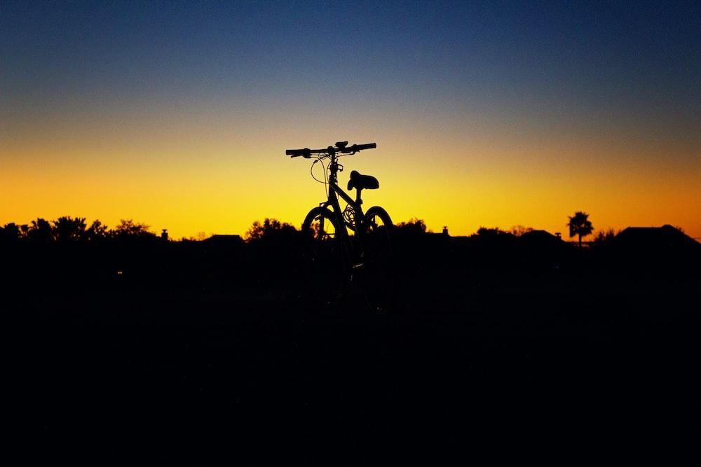 bike parked during golden hour