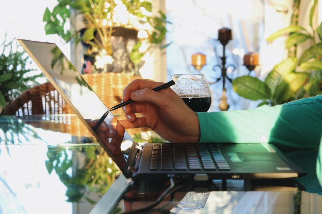 Young professionnal using a touchscreen laptop with his stylus with a bright sunny light and plants in the background.