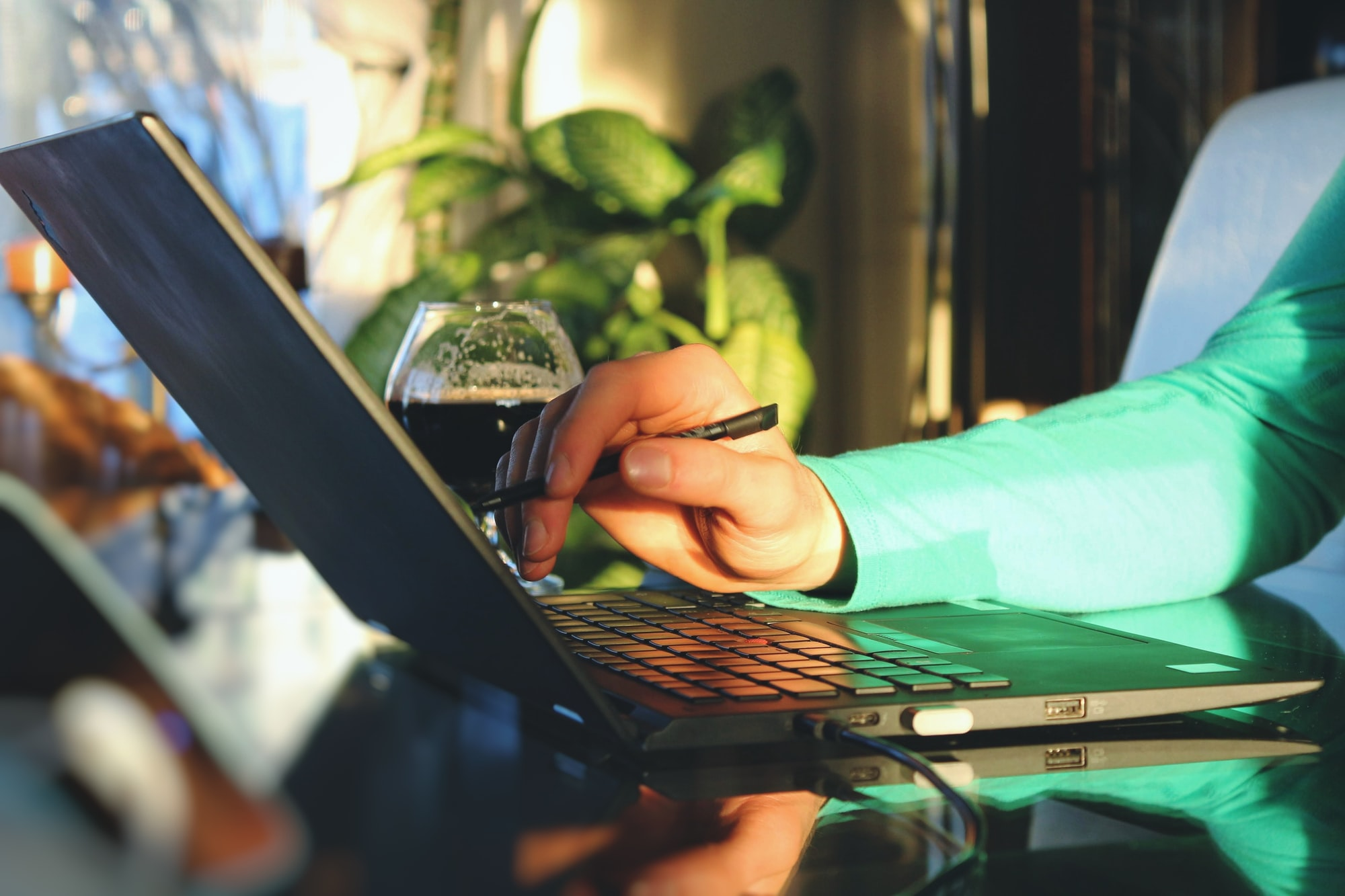 Young professional using a touchscreen laptop with his stylus with a bright sunny light and plants in the background.