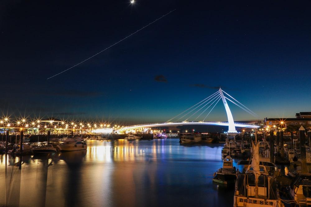 gray lighted bridge