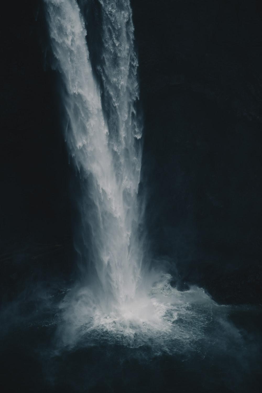 high angle photo of waterfalls