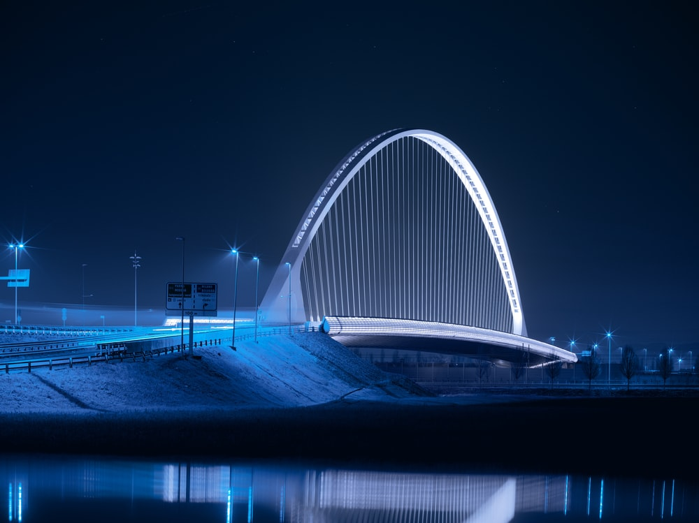 arch bridge at night