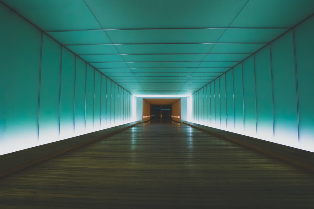 tunnel with turned on lights