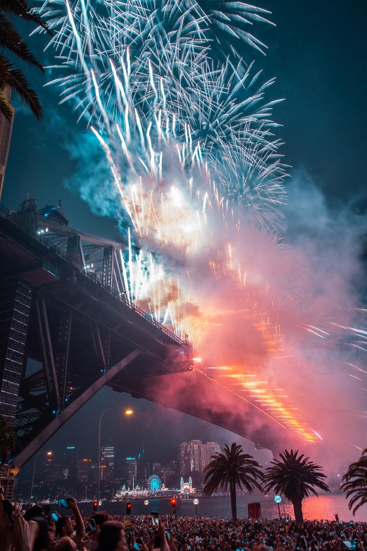 fireworks on bridge during night time