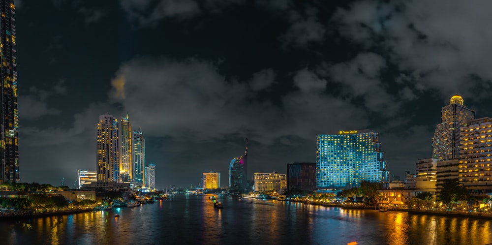 city buildings at night