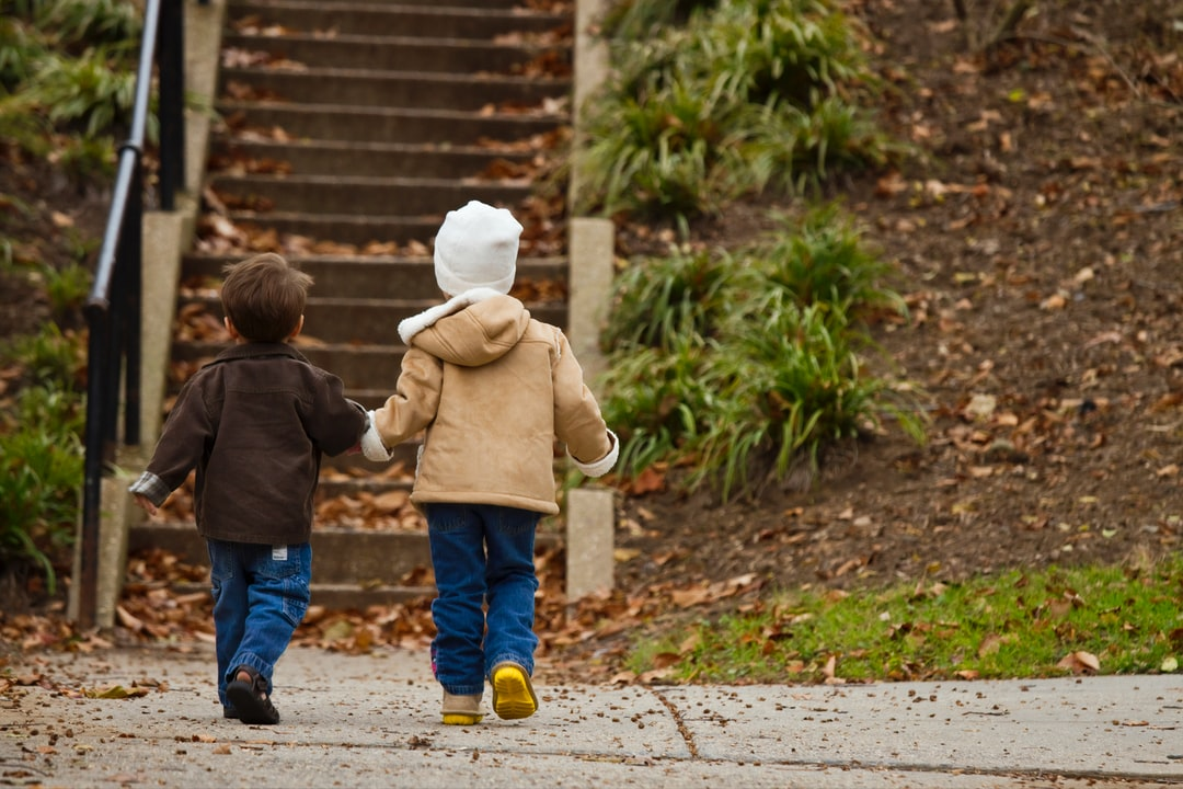 A Caucasian boy and girl holding hands walking towards the bottom of a leaf covered stairway. Their backs are to the camera. Photographer Daniel Sone
