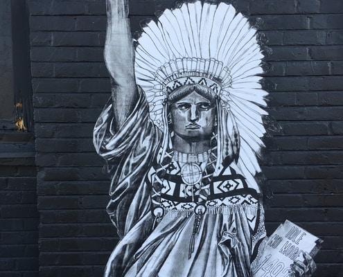 grayscale photography of Statue of Liberty inspired Native American wall art