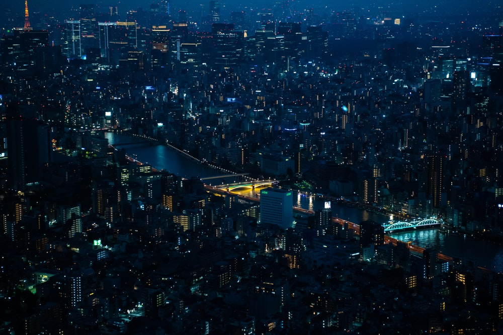 aerial photography of city with high-rise buildings viewing blue sea during night time