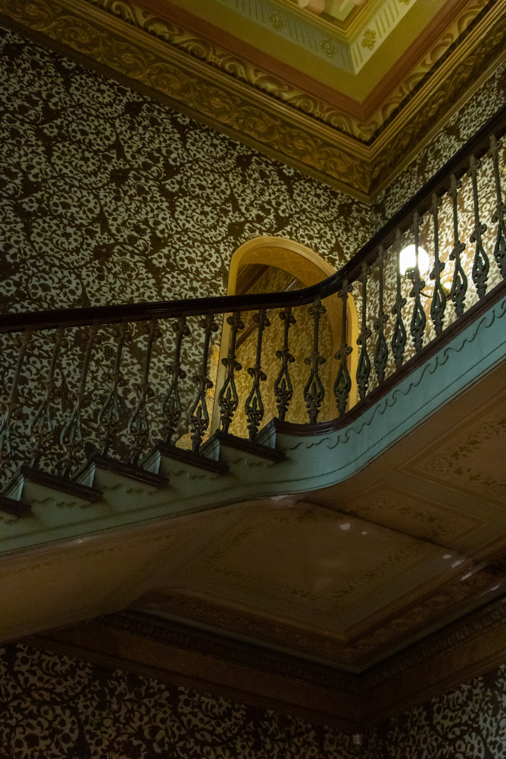 blue and brown stair